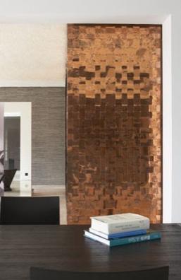 Woven Copper Panel Ontwerpers Binnenhuisarchitect Wanden