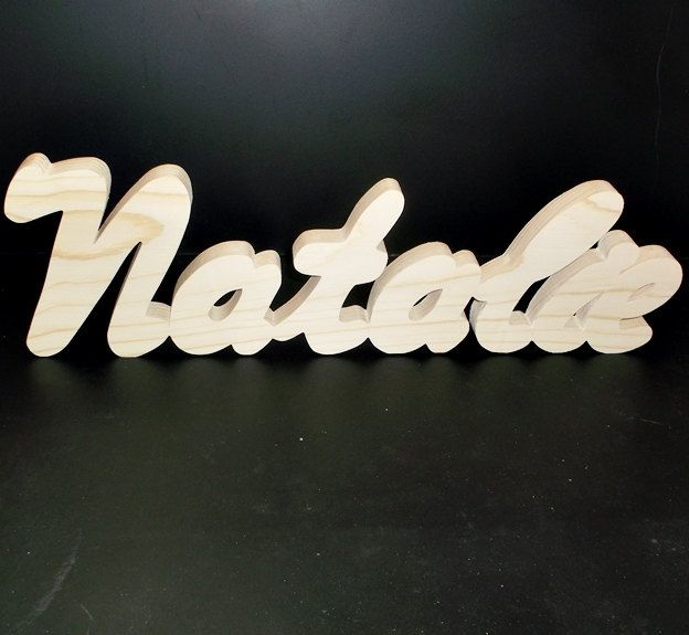 Name Sign 5 in . High x .75 in. thk 7 Letters Stand Alone  Unfinished  Wood Style 3 Stk No. N-3-.75-5-7-LC-SA by MarvsCars on Etsy