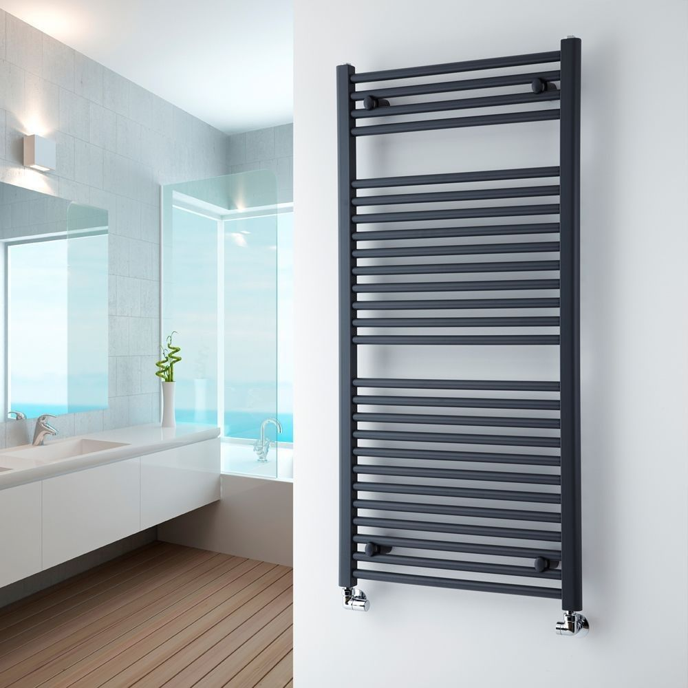 Milano Brook - Anthracite Flat Heated Towel Rail 1200mm x 600mm ...