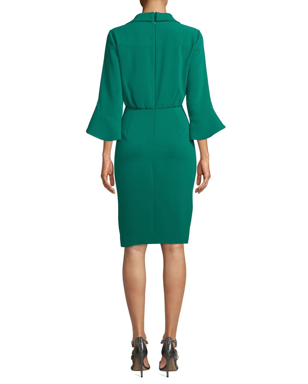 J brand green velvet dress  Badgley Mischka Collared TrumpetSleeve Dress  Products  Pinterest
