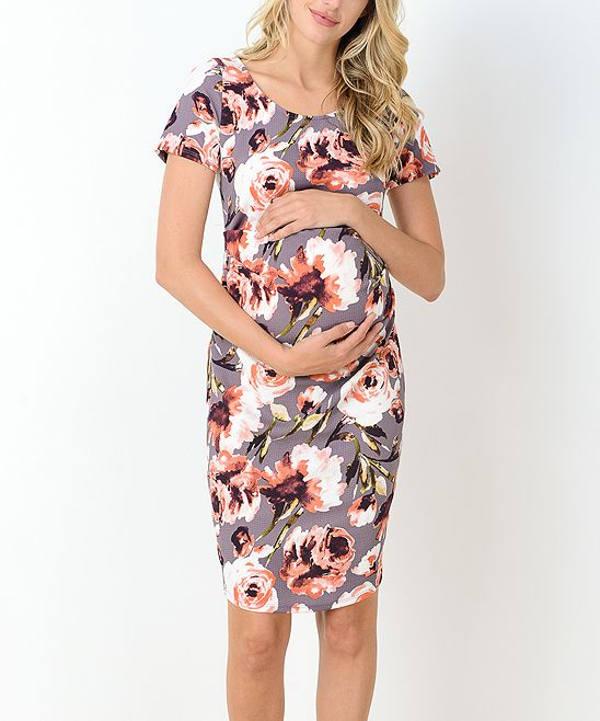 f3457299fe6 Hello Miz Mauve Floral Maternity Sheath Dress