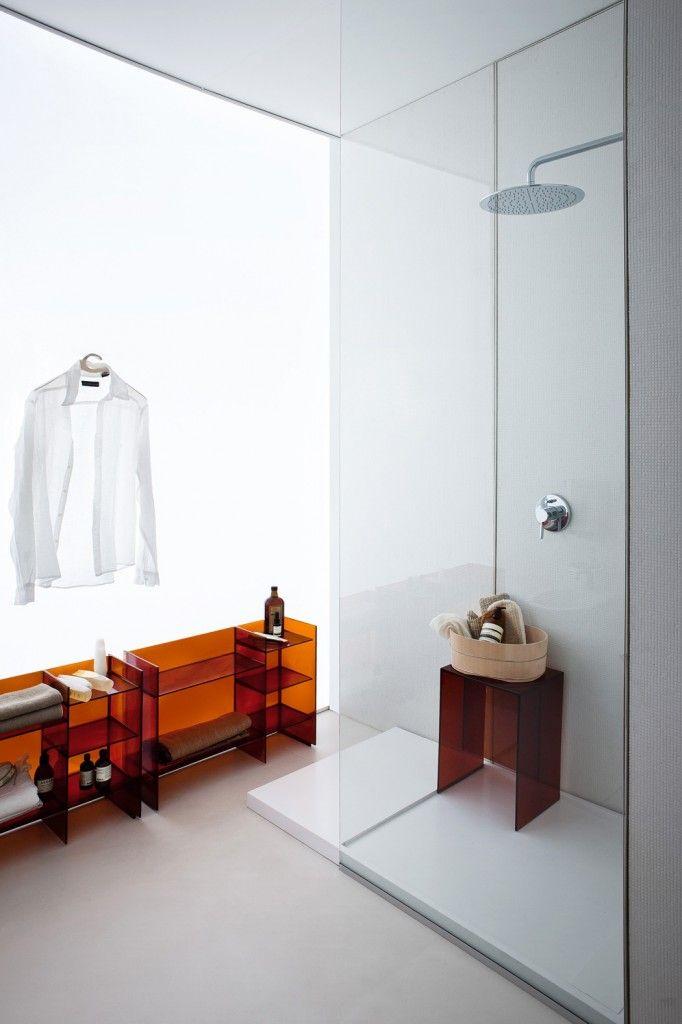 lines laufen laufen bathrooms design. Plexi-glass Shelving In Burnt Orange Kartell + @Leslie Whitnack Laufen Bathrooms #InteriorDesign Lines Design