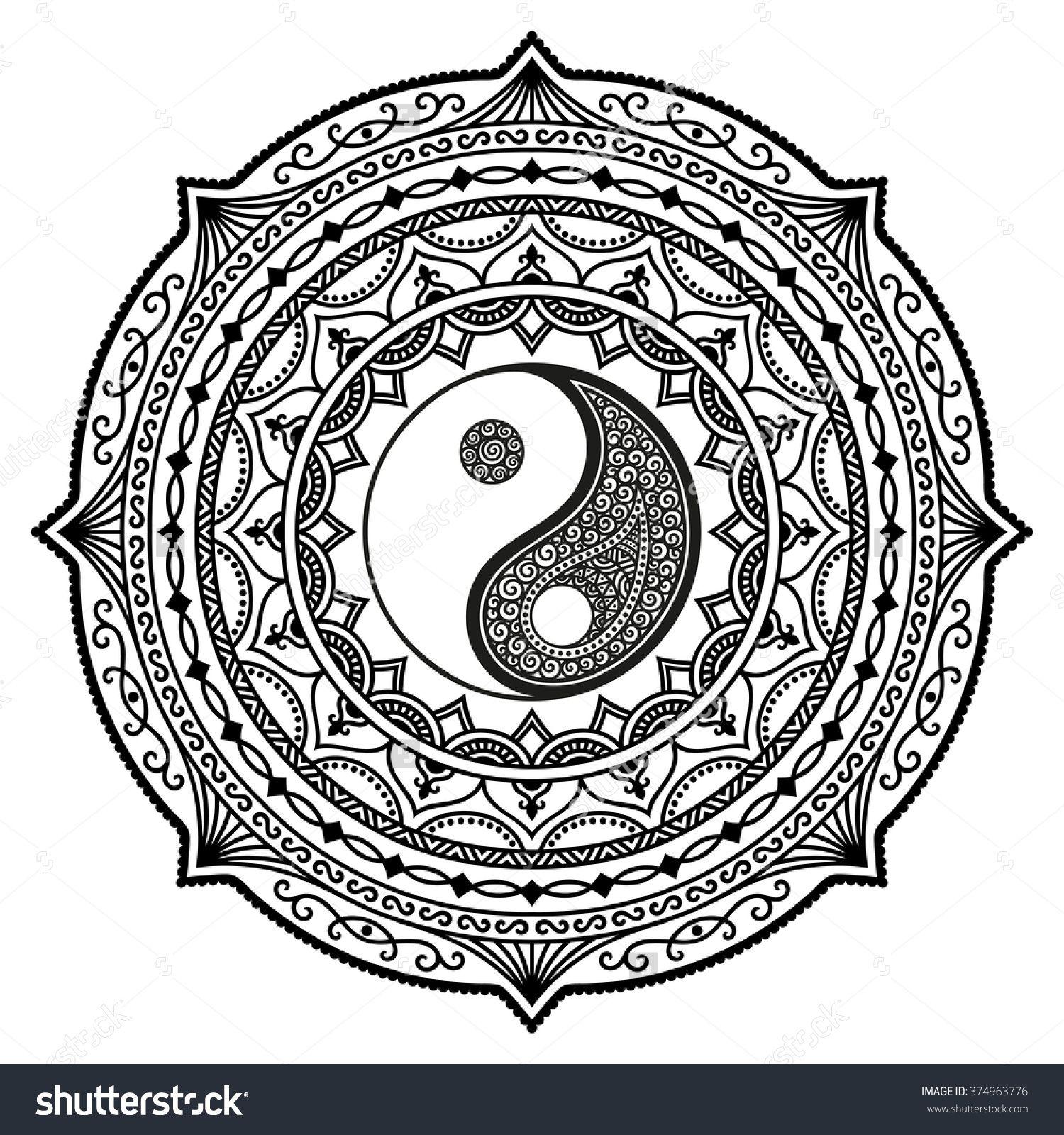 Stock Vector Vector Henna Tatoo Mandala Yin Yang Decorative Symbol Mehndi Style 374963776 Jpg 1500 1600 Nebolshie Zhenskie Tatuirovki In Yan Raskraski