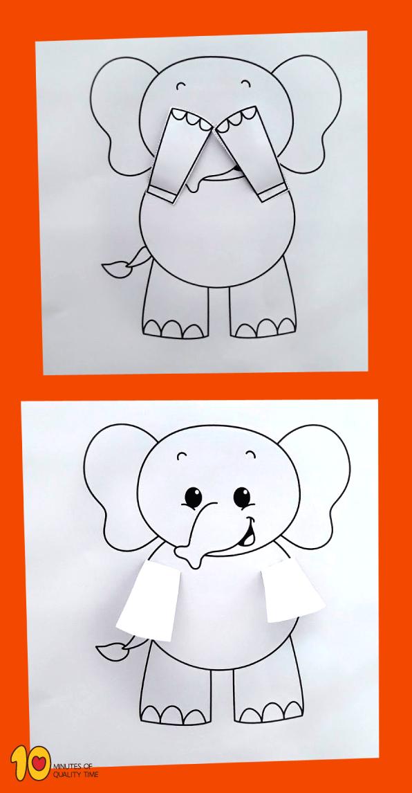 Peekaboo Elephant Printable Craft Okul Oncesi Elisi Hayvan El