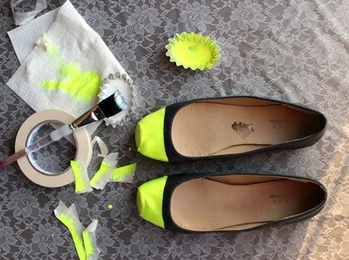 boring flats to patent neon toe shoes . how to-sday