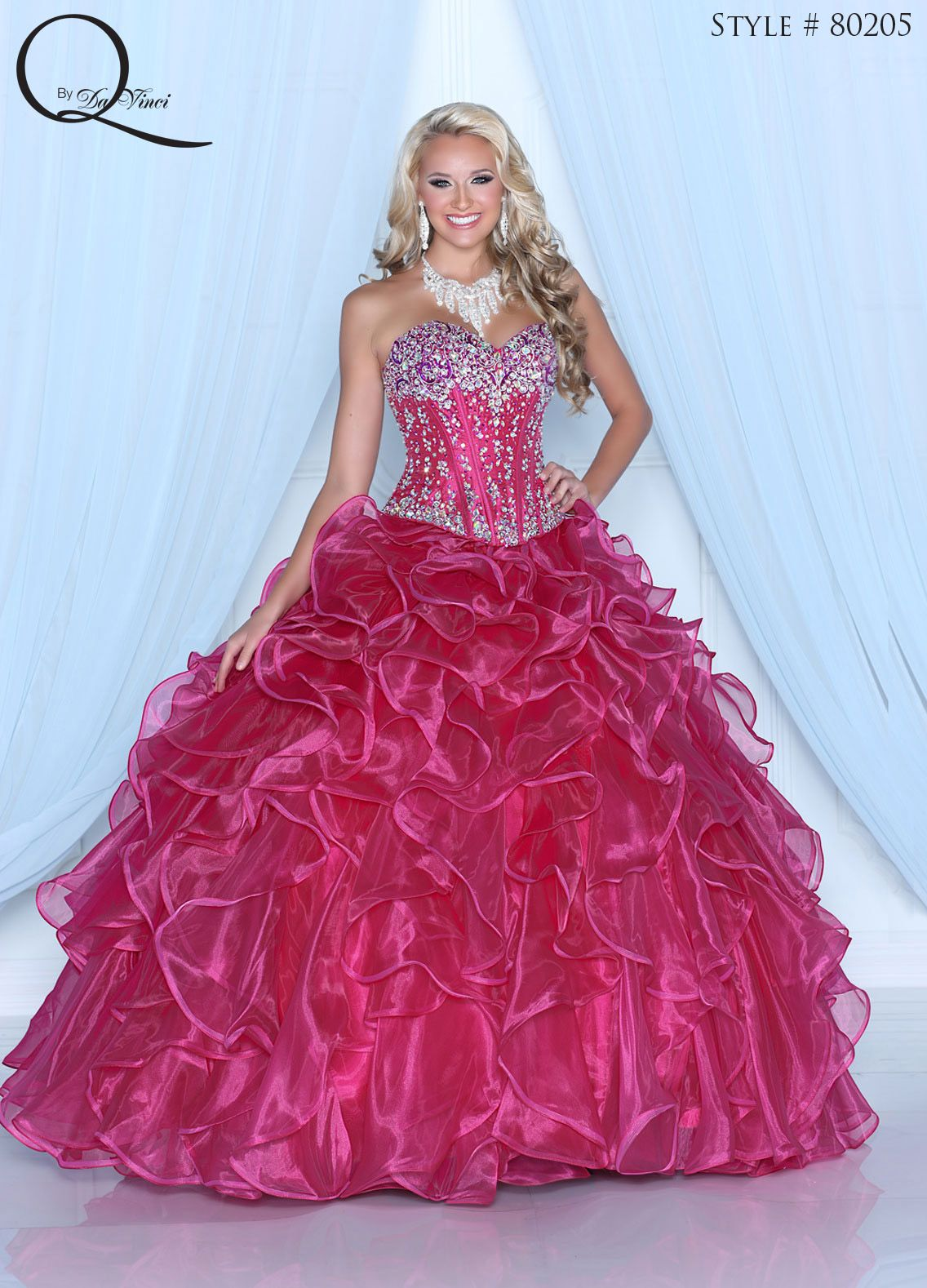 Hot Pink Quinceanera dress ~ Quinceanera dresses from Q by Davinci ...