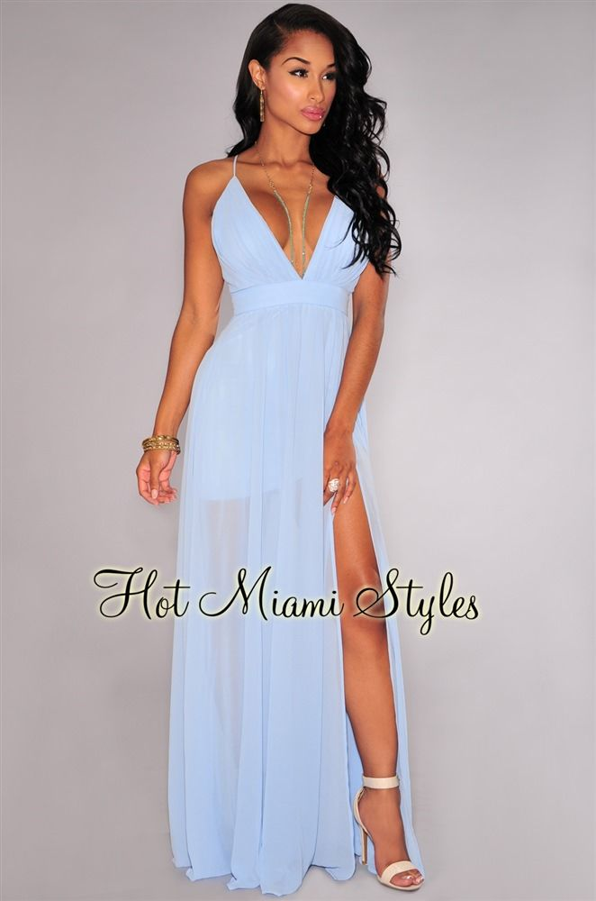 Sky-Blue CrissCross Back High Front Slit Maxi Dress  5df9241b1