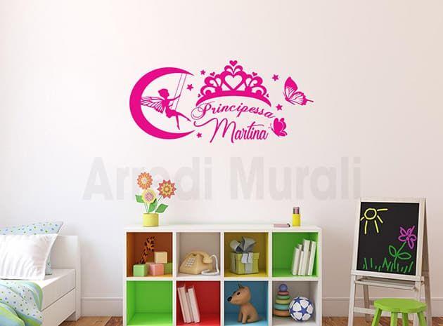 Stickers Parete Personalizzati.Adesivi Murali Personalizzati Cameretta Principessa Ws1499