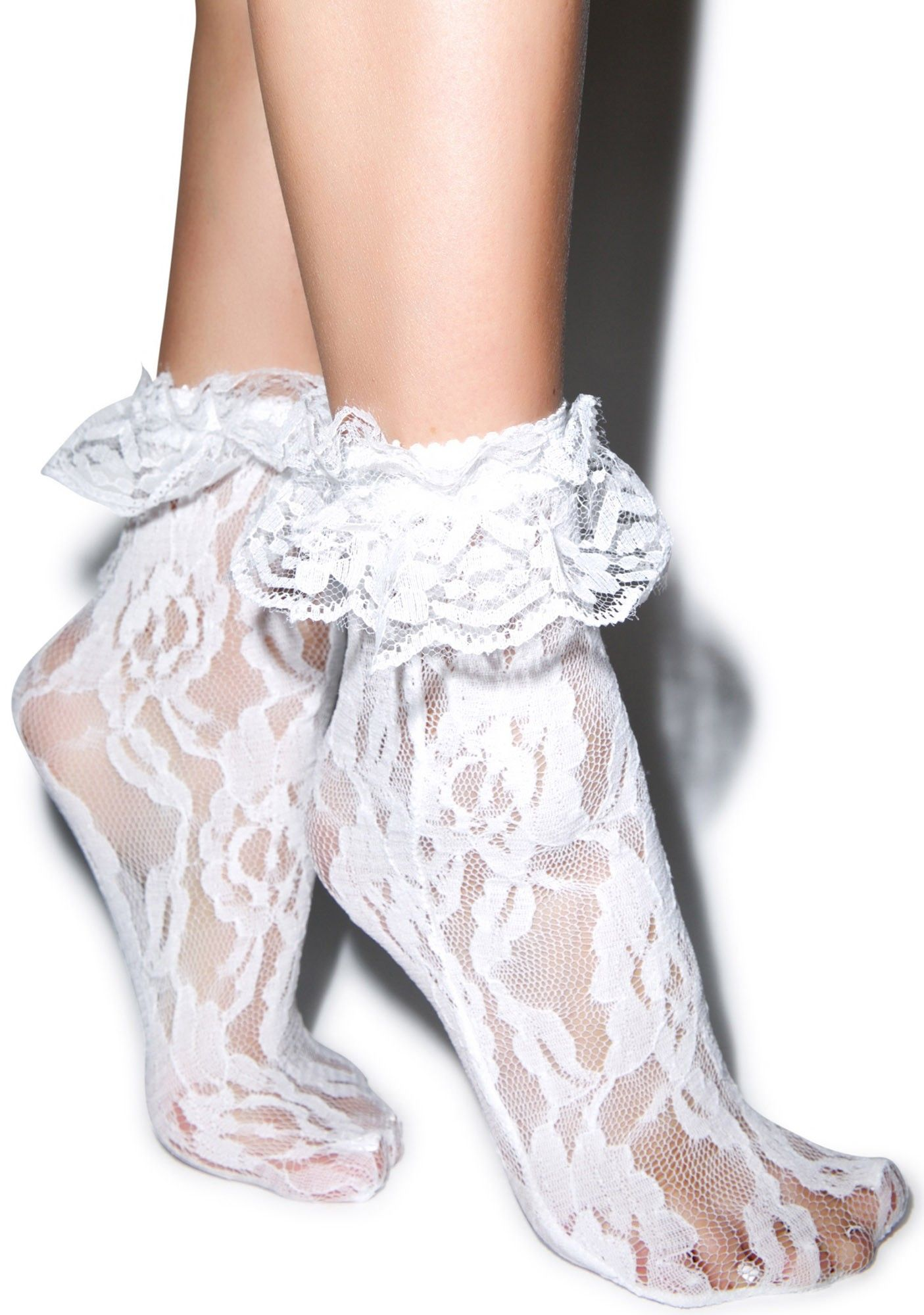Ladies ankle one pair silk lace design assorted colour socks black laces flowere