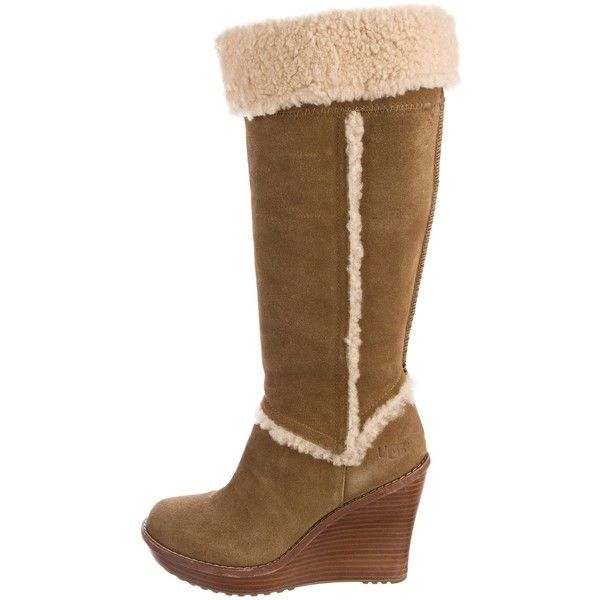 Pre-owned UGG Australia Shearling Wedge Knee-High Boots ($95) ❤ liked