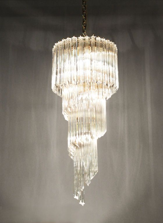 Spiral Chandelier With Glass Prisms 1960s Chandelier