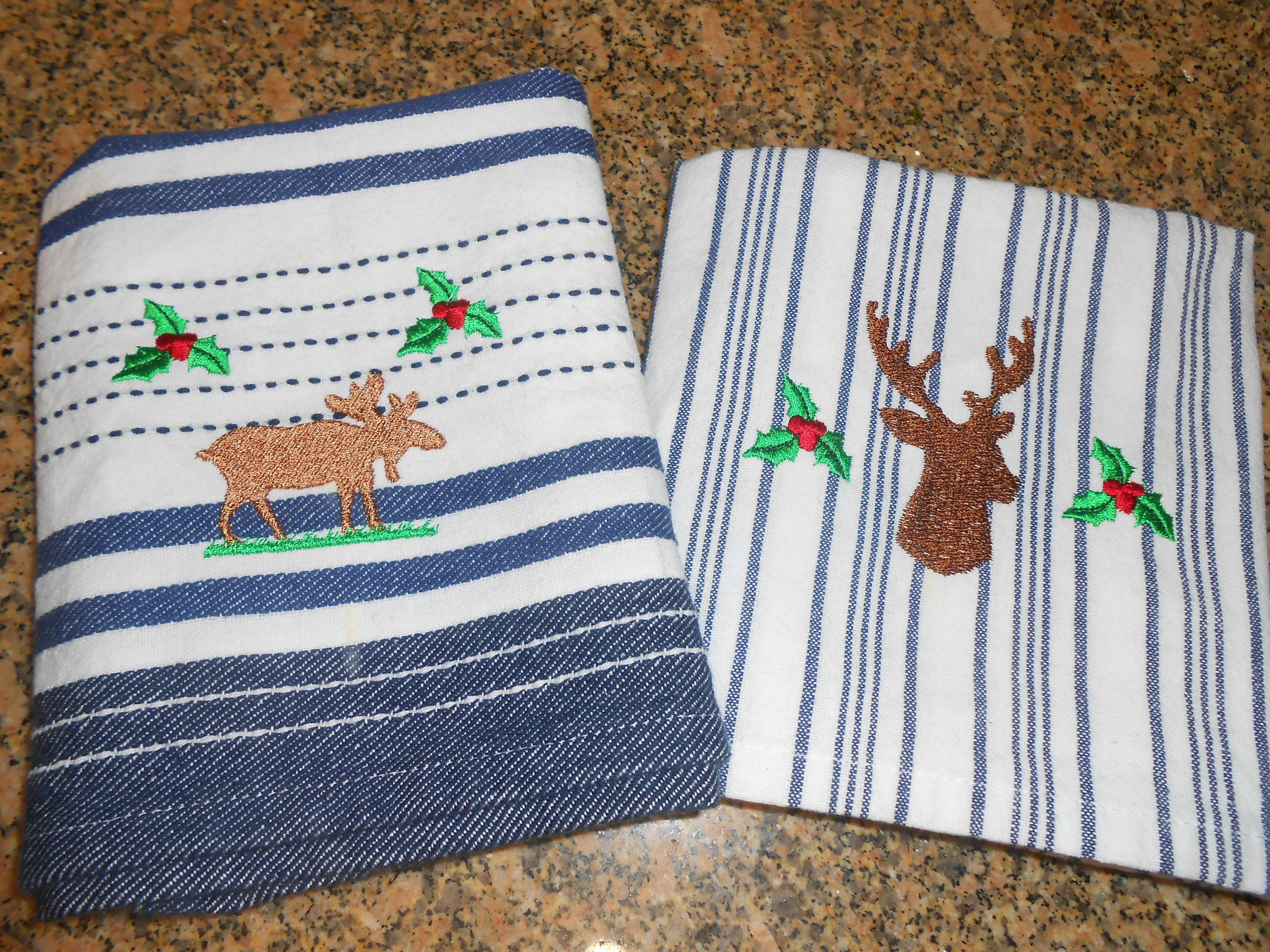 Embroidered Moose Buck Head Kitchen Towels Dish Towels Linens Kitchen Decor Gift Idea By Kitchen Decor