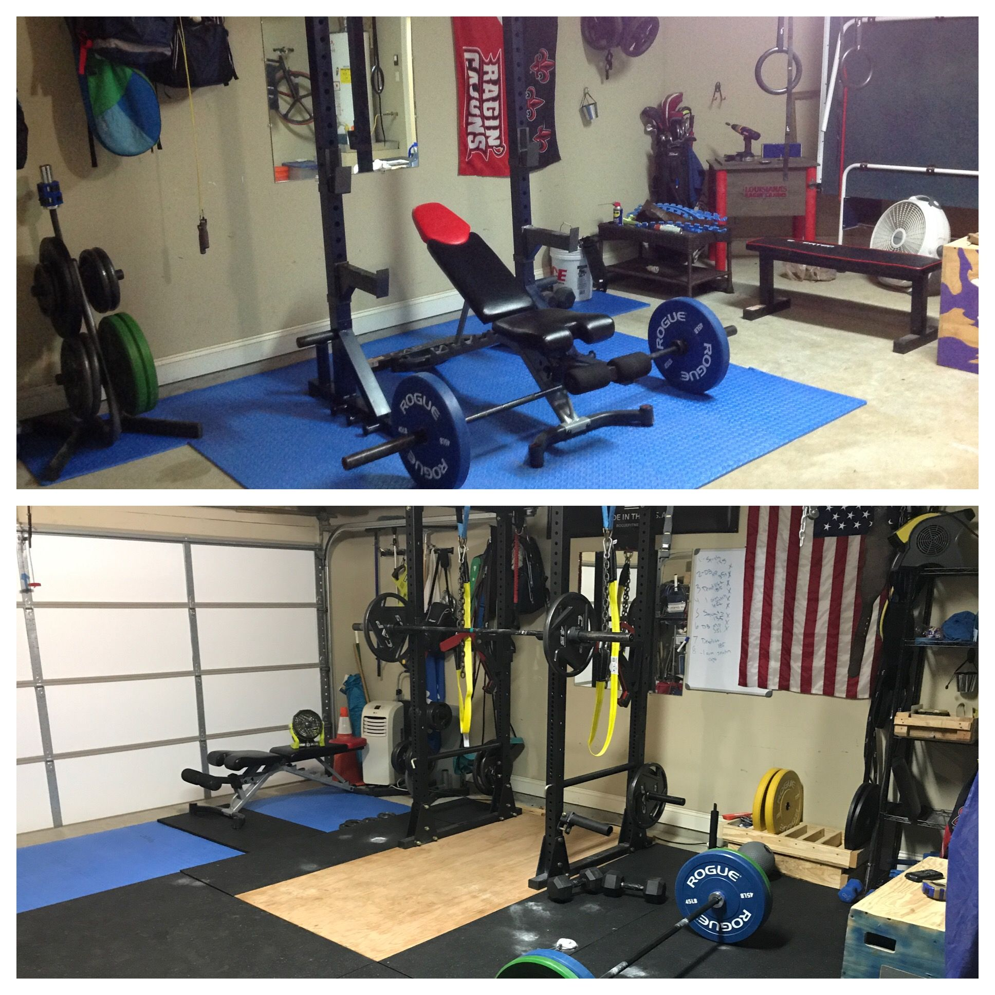 Garage gym 8 week reno. titan fitness power rack rogue bumpers and