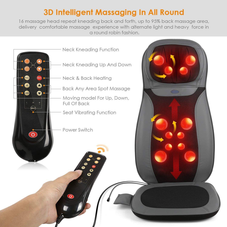 INTEY Shiatsu Massage Chair Pad Back Massager Machine with