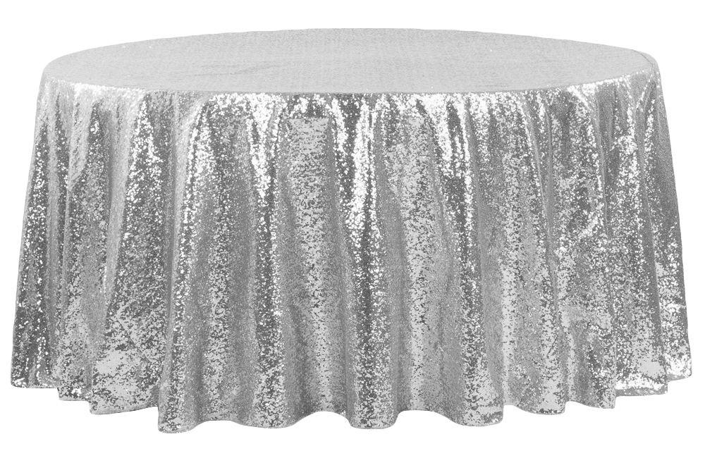 Glitz Sequins 120 Round Tablecloth Silver Glitz Sequin