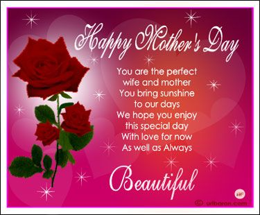 Christian Happy Mothers Day Quotes  Red Roses Greetings Card with poem ...