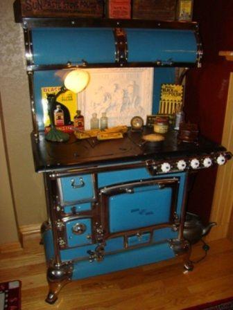 Antique Stove Blue Enamel Quick Meal Cookstove