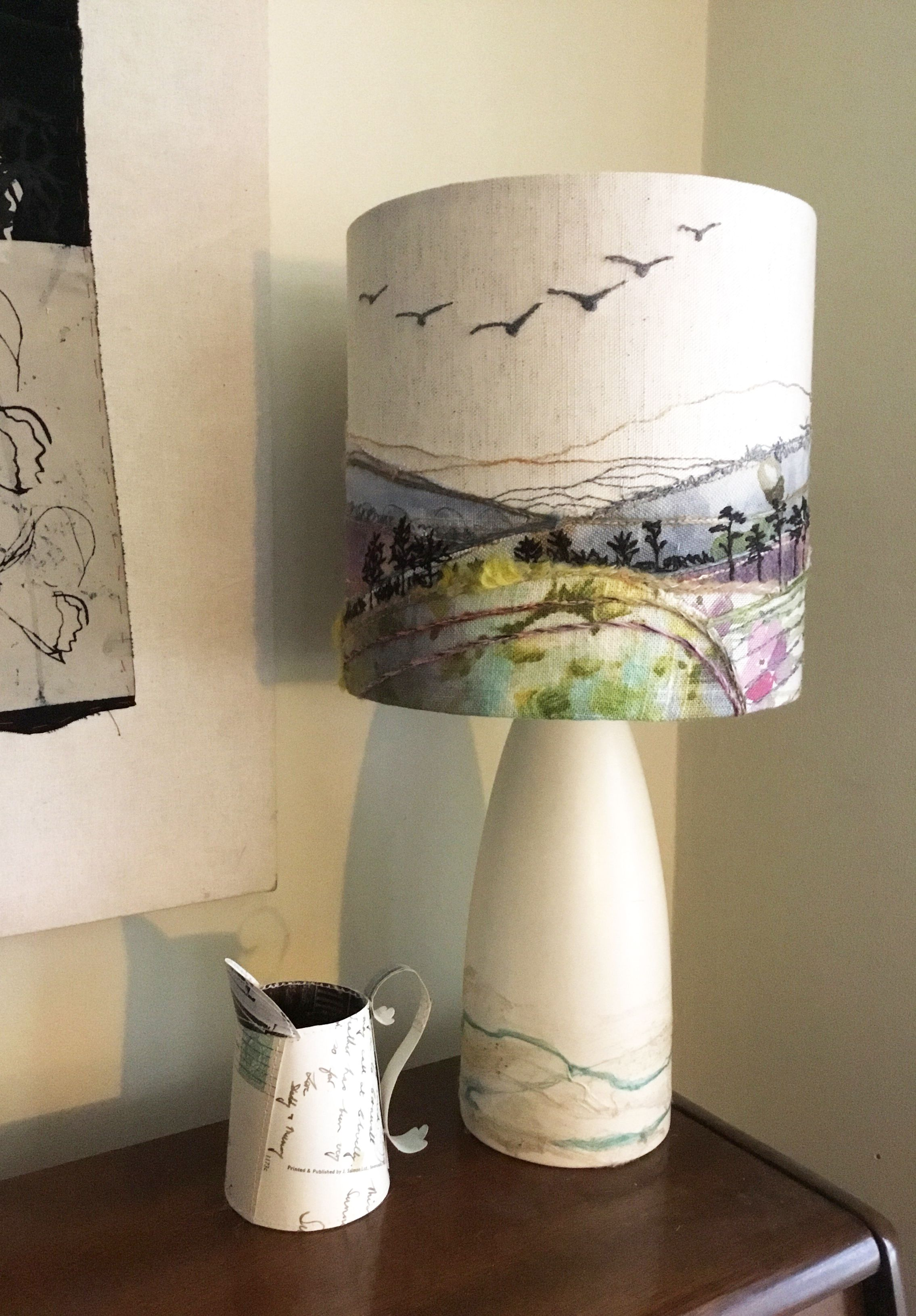 Painting A Lampshade Glamorous British Landscape Lampshade With Embroidery Of Geese Measuring Review