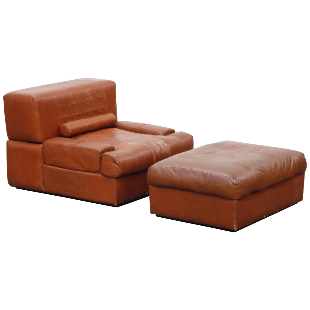 Percival Lafer Adjustable Leather Armchair and Ottoman