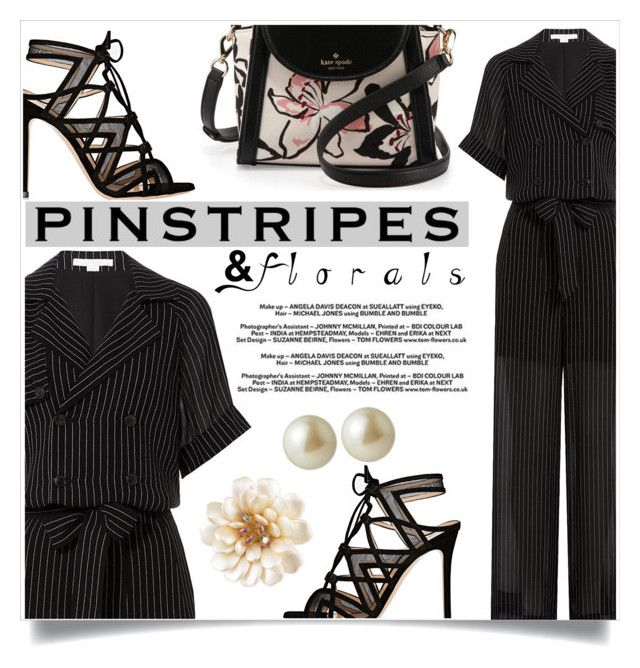 """""""Pinstripes and Florals"""" by captainsilly ❤ liked on Polyvore featuring Gianvito Rossi, Alexander Wang, Kate Spade and Carolee"""