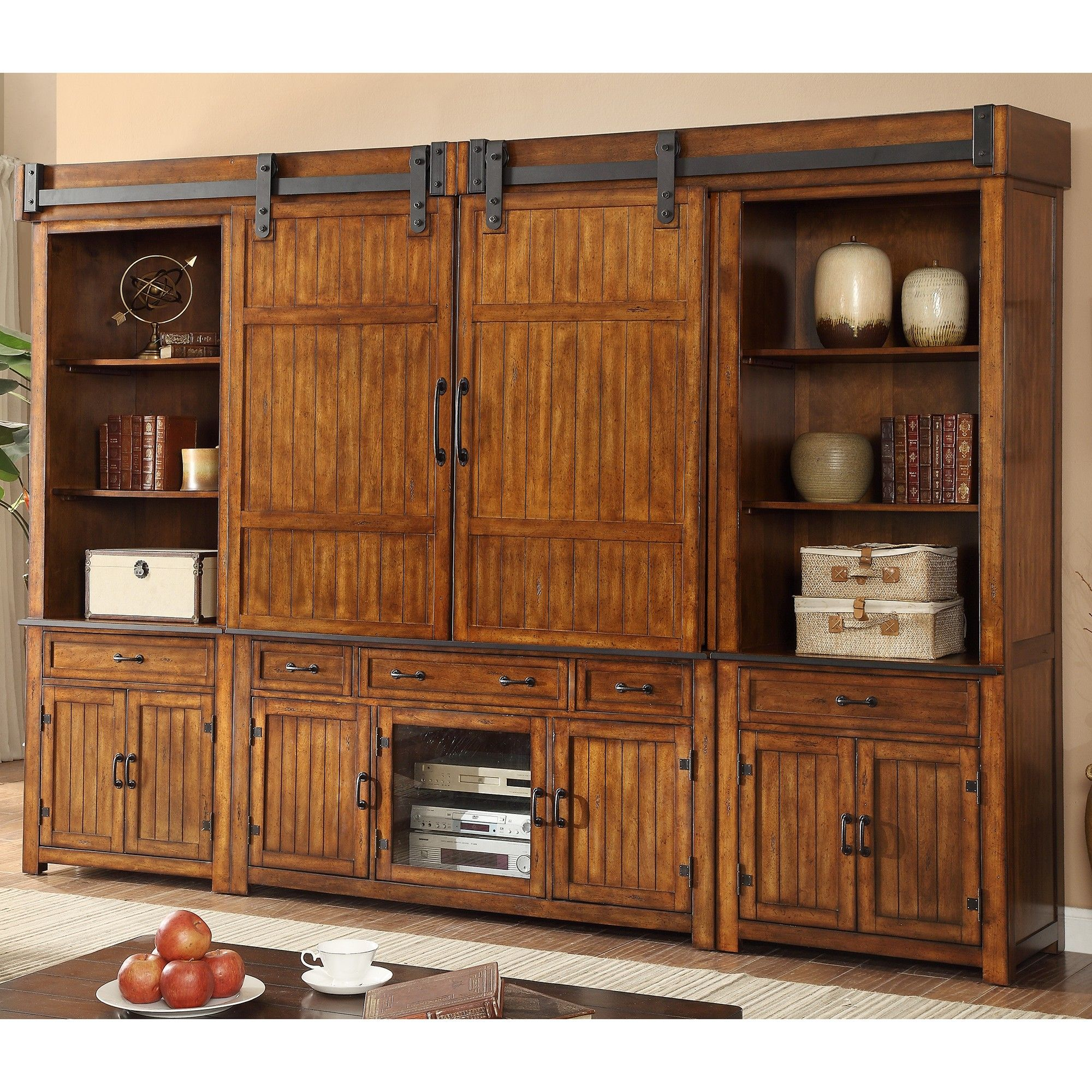 New industrial piece entertainment center wall unit in distressed