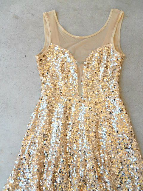 Gold Sequins New Years Dress