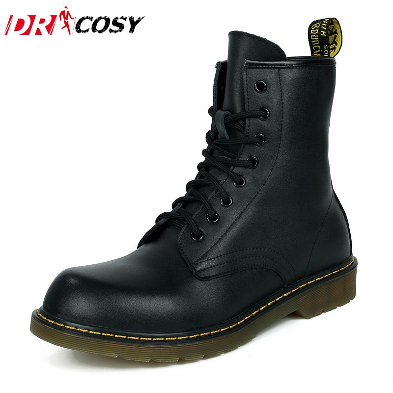 Fashion Genuine Leather Dr Martin Boots Warm Fur High Top Casual Martin  Shoes Men Boots Ankle