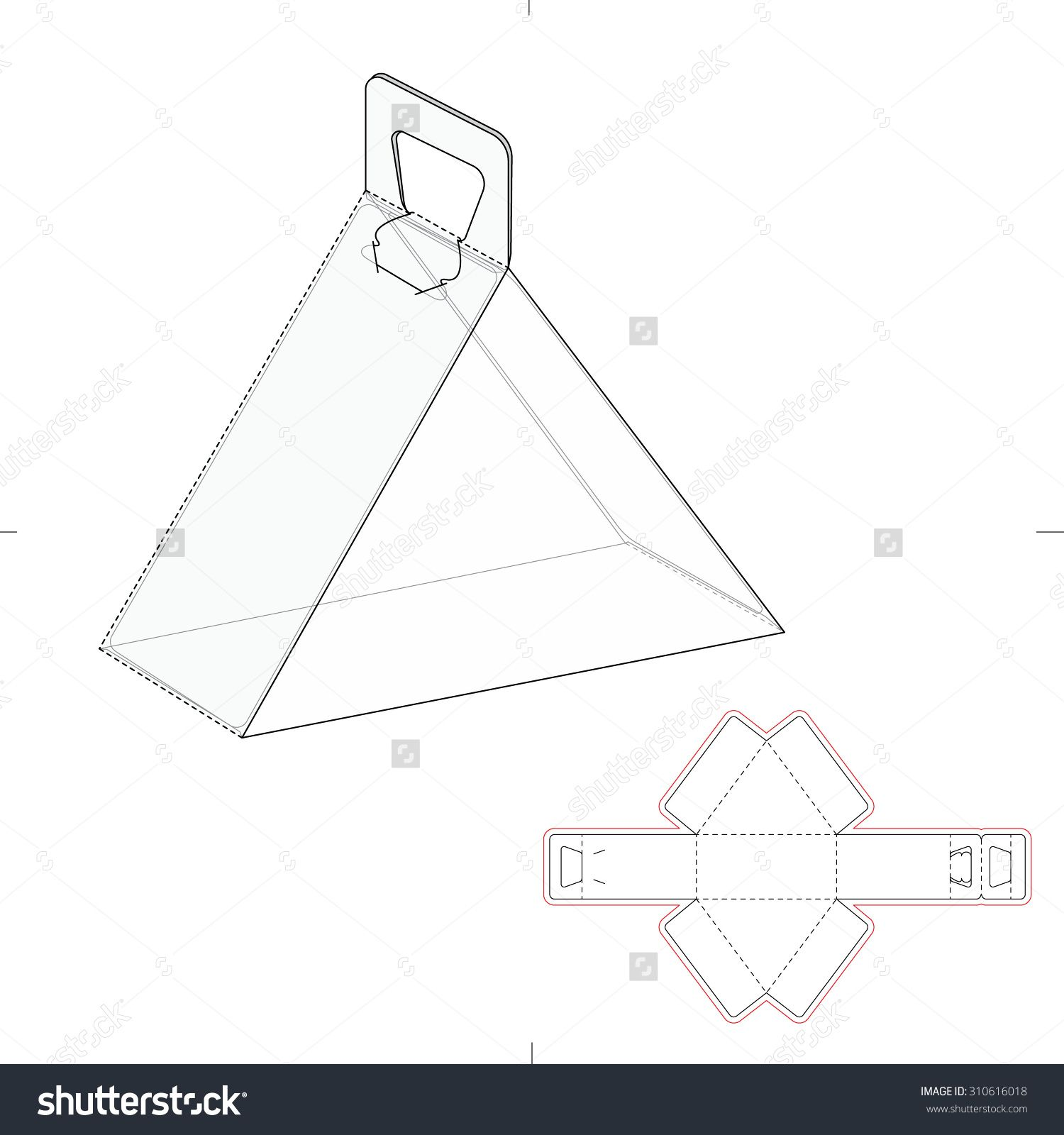 Triangular carrying box with handle and die line template stock triangular carrying box with handle and die line template stock vector illustration 310616018 shutterstock packaging maxwellsz