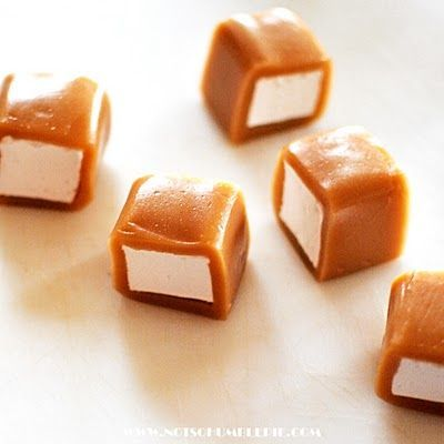 "Not So Humble Caramel Wrapped Marshmallows yields ""tons of it"" Caramel wrapping 2 cups granulated sugar 2 cups heavy cream* 1 cup light corn syrup** 1/2 teaspoons salt 4 1/2 tablespoons unsalted butter generous pinch salt"