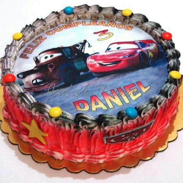 Torta Decorada Con Merengue. Cars