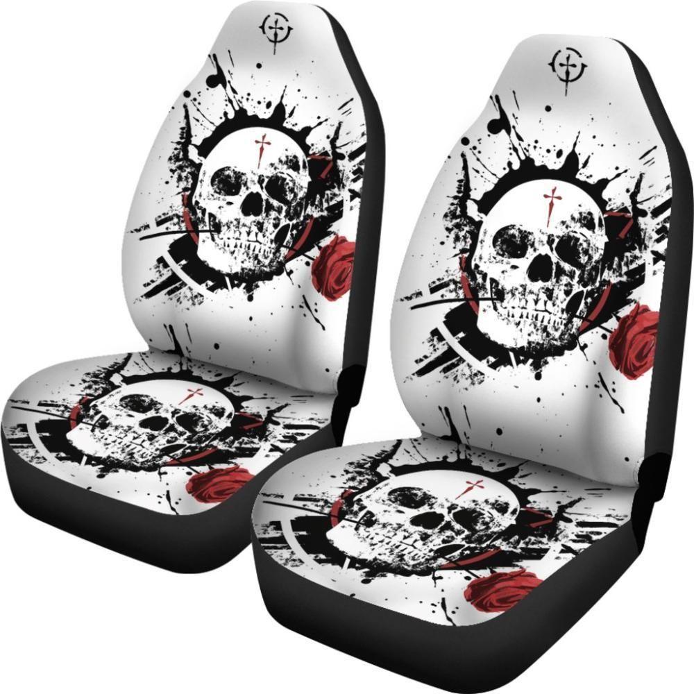 Skulls Car Seat Covers Skull Rose