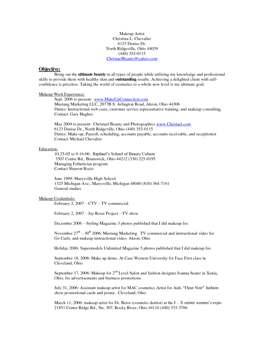 Resumes Examples 10 Makeup Artist Resume Examples  Sample Resumes  Sample Resumes