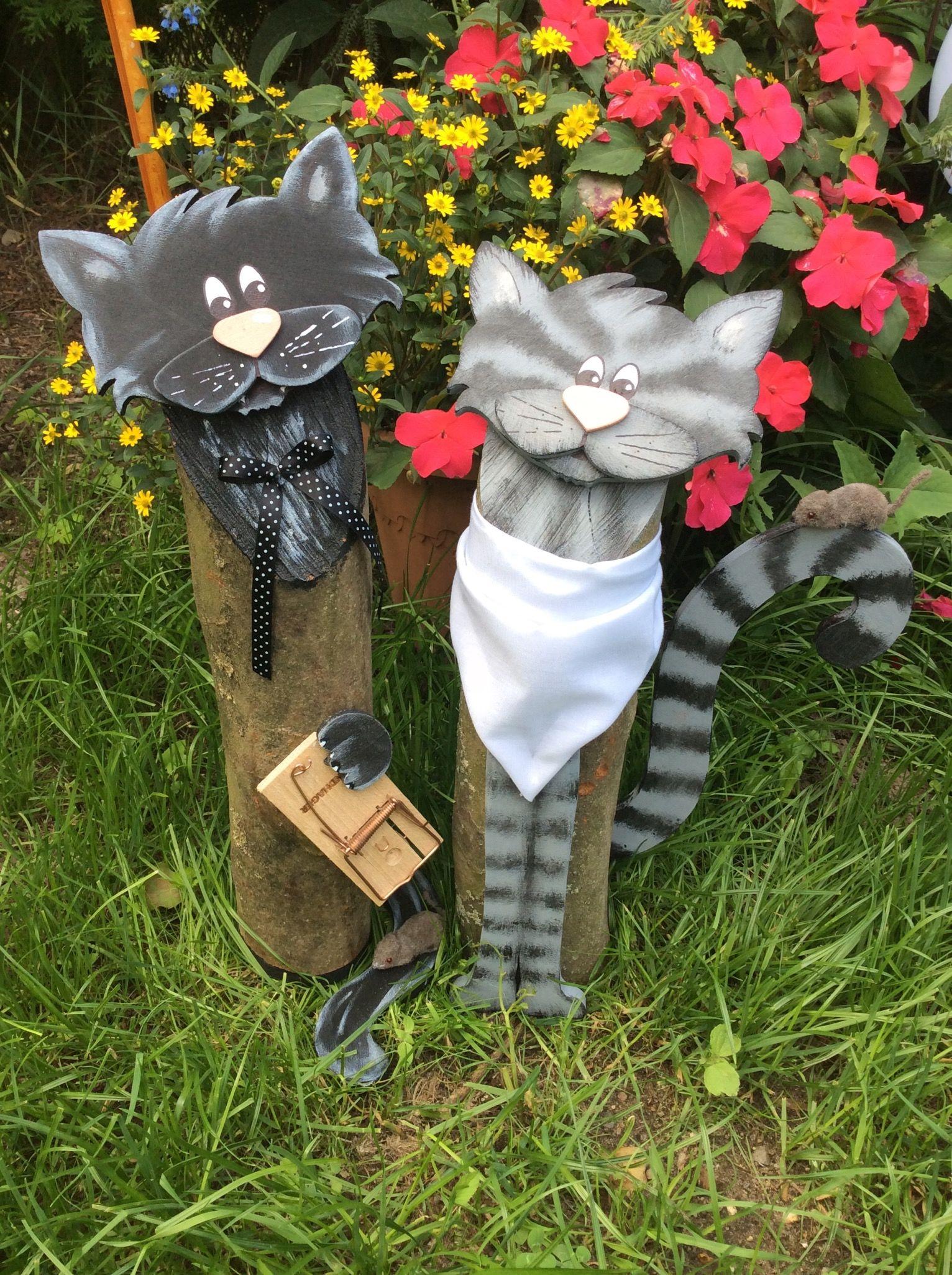 Katzen Baumstammfiguren Holzdeko Holzdeko Basteln Dekoration Holzdeko
