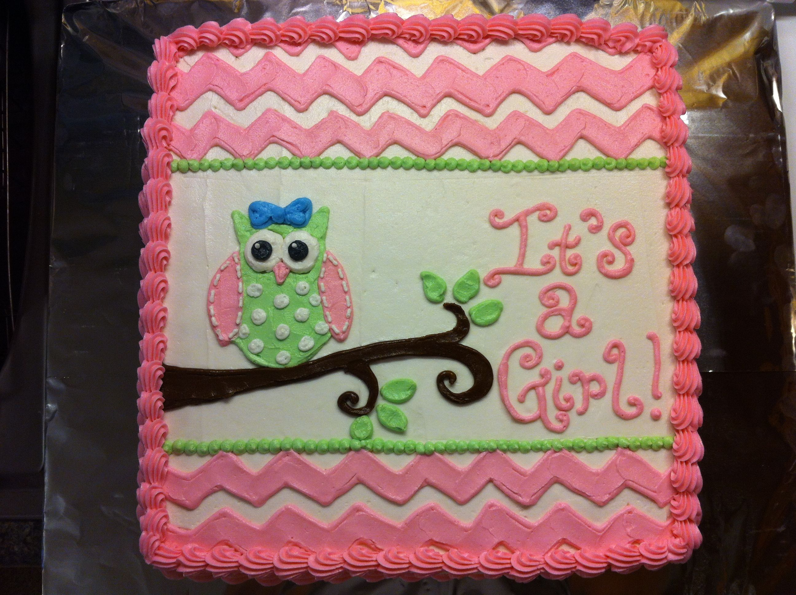 Pink chevron and owl baby shower cake