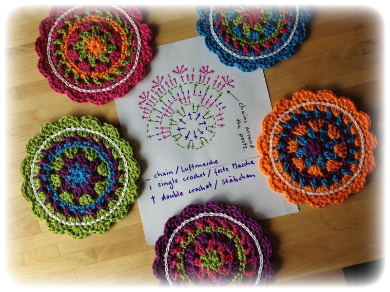Fröhliches Häkeln – Happy Crocheting | Pinterest | Untersetzer, Bunt ...