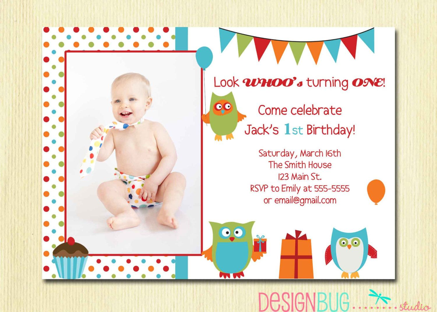 Owl Birthday Boy Invitation First Birthday Year Old - Birthday invitation wording for 1 year old baby girl