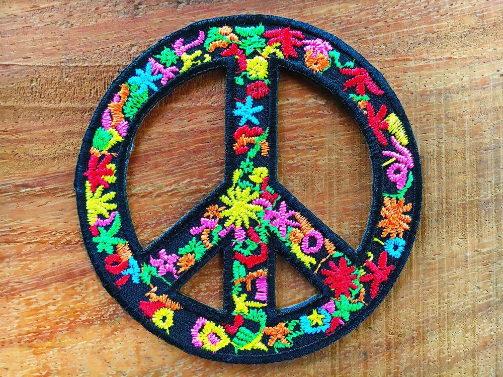 New Peace Sign Hippie Boho Retro Flower Power Love Hippy Applique