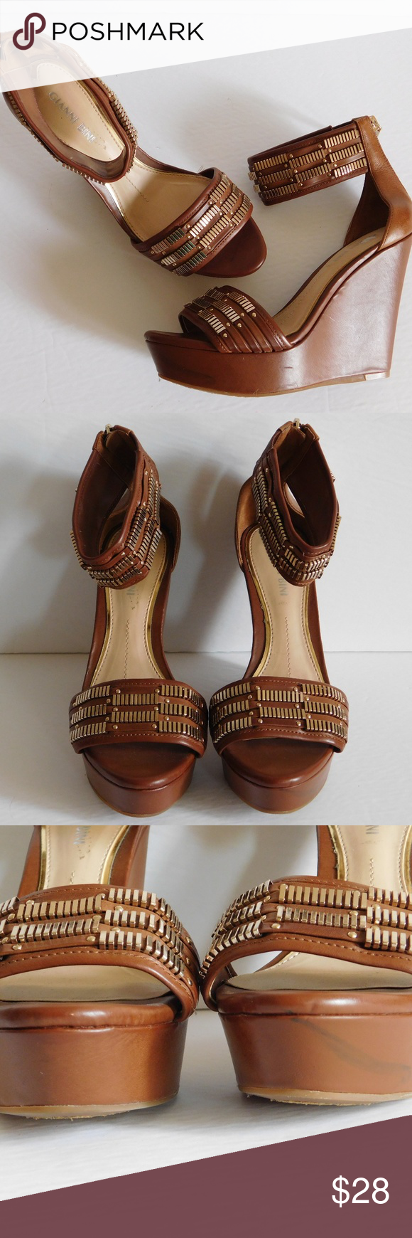 ec9ec1ed64 GIANNI BINI Brown & Gold Studded Wedges This is a pair of gorgeous brown  and