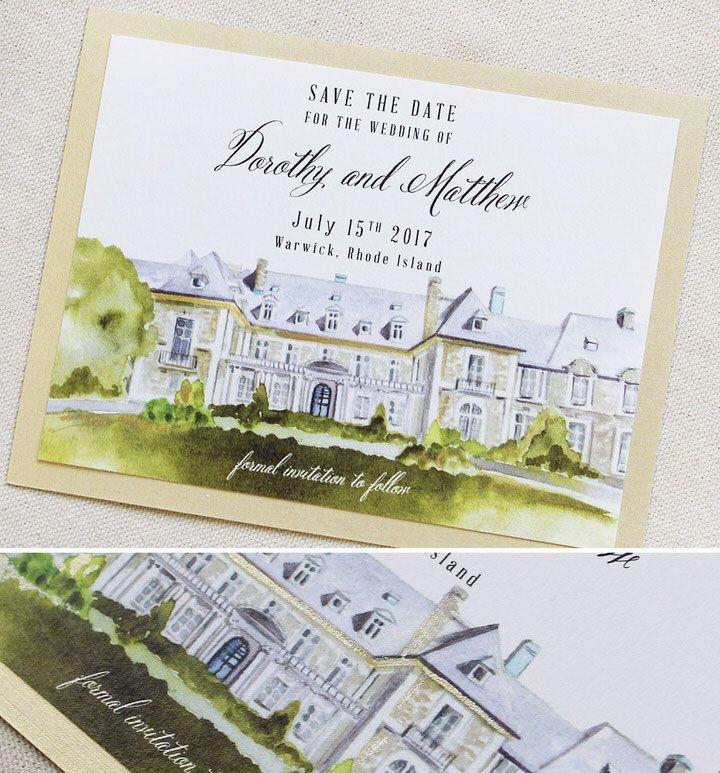 Dorothy D Custom Venue Illustration Save The Dates Wedding