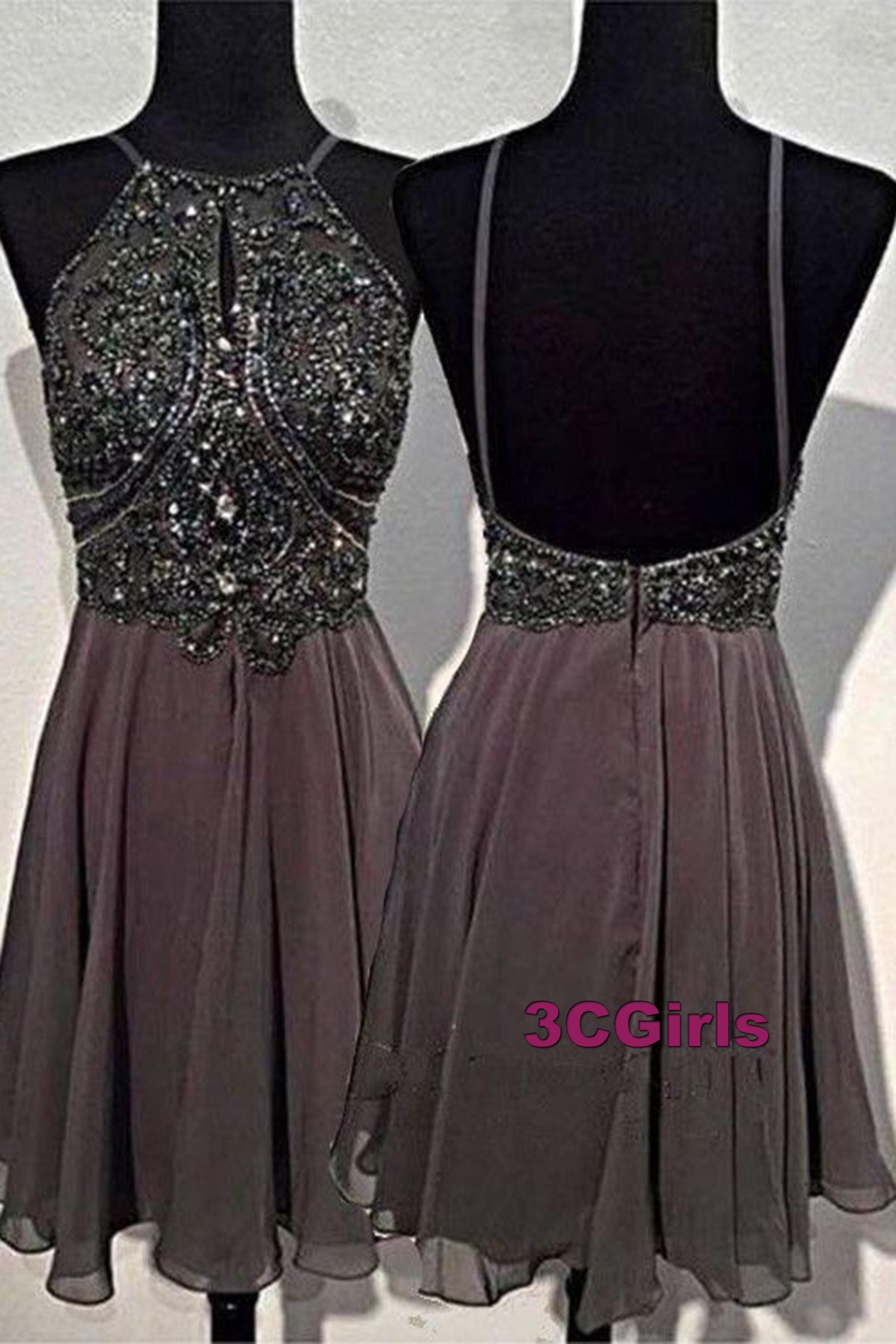 Cute sequins chiffon prom dress, homecoming party dress, short dress ...