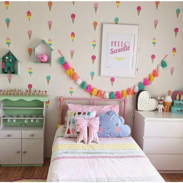 Bright and colourful ice-cream themed room!