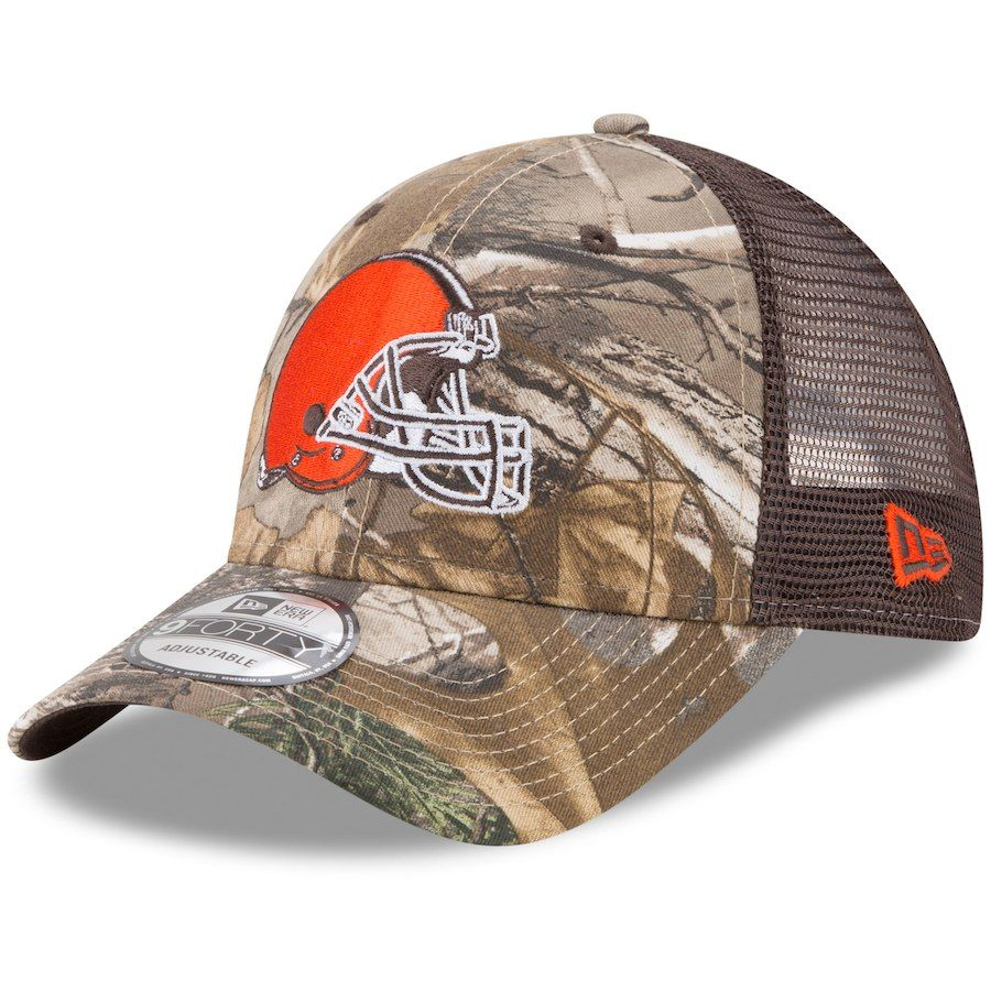 sale retailer 93071 99154 Men s Cleveland Browns New Era Realtree Camo Brown Trucker 9FORTY  Adjustable Hat