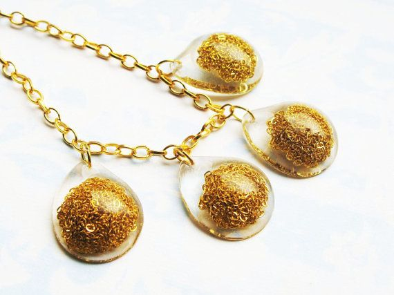 Gold Chain Resin Necklace Resin Jewelry Resin by lowelowejewelry, $28.00