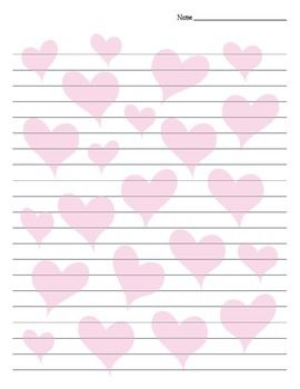 Heart Background Lined Valentine\'s Day / Friendship Paper ...