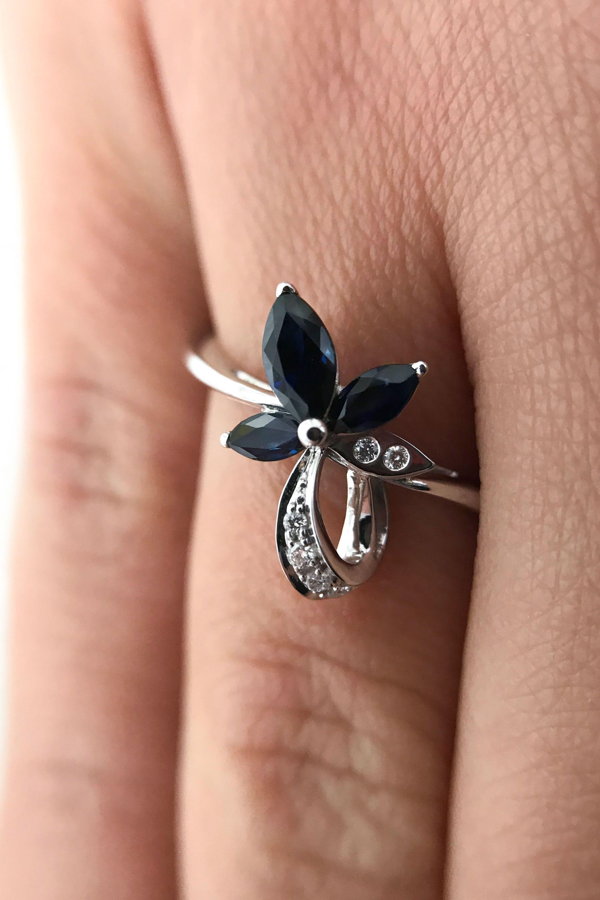 14k white gold flower ring diamond floral ring unique