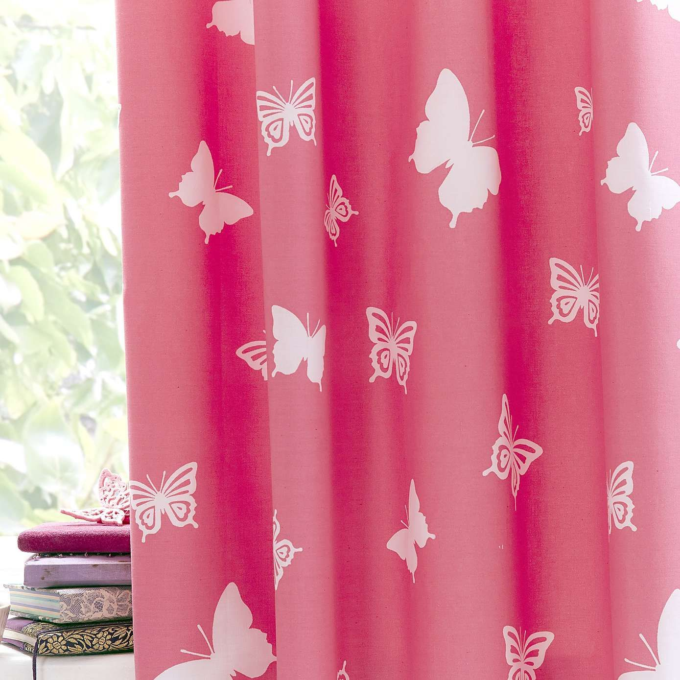 bright butterflies blackout eyelet curtains dunelm - Blackout Shades For Baby Room