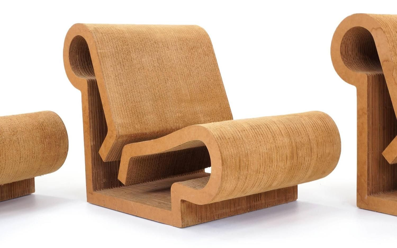 70s chairs is frank o gehry s cardboard chair wiggle side chair - Rare Original Frank Gehry Easy Edges Cardboard Contour Chairs