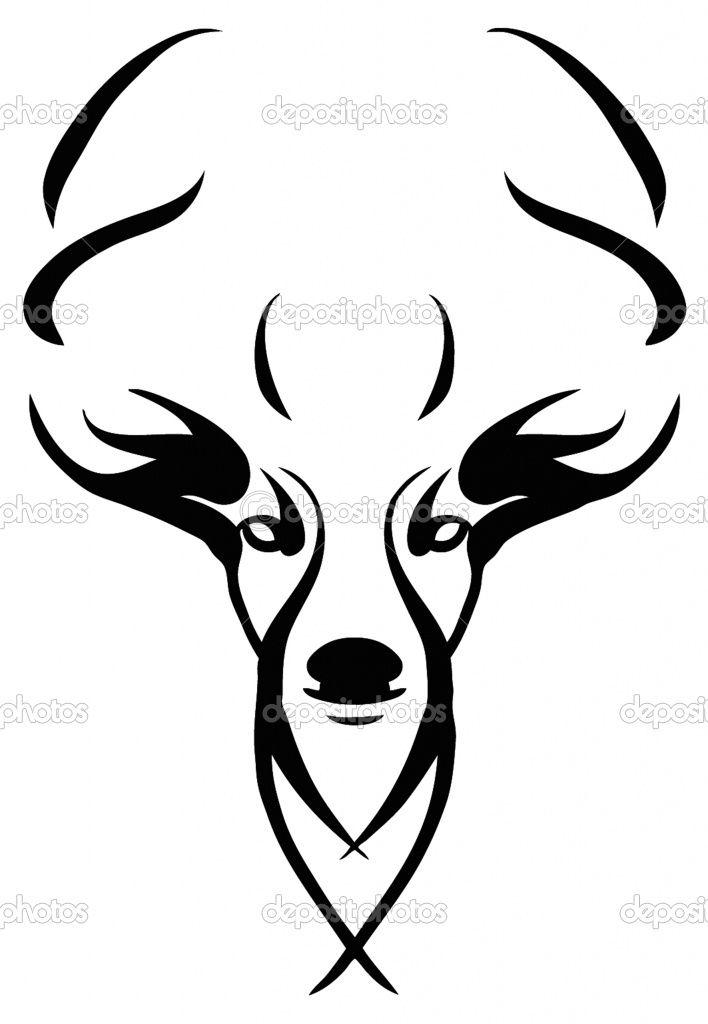 Skull Line Drawing Tattoo : Deer stencil stencils pinterest skull drawings clip