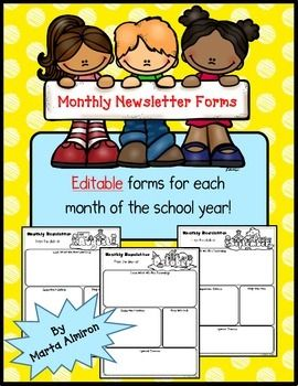 Monthly Newsletters  Editable  Homework Calendar Homework And