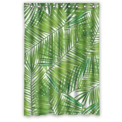 Fashionable Bathroom Collection Custom Waterproof Palm Leaf Shower Curtain 48 X 72